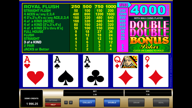 Характеристики слота Double Double Bonus Poker 2